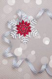 Christmas set with snowflakes and silver ribbon Royalty Free Stock Photos