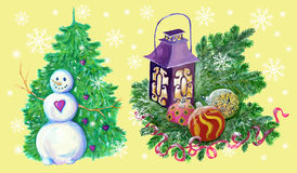Christmas set with snowman and lantern Royalty Free Stock Photo