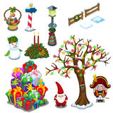 Christmas set of street decorations and gifts Stock Photography