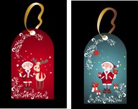 Christmas set of tag with santas Stock Images