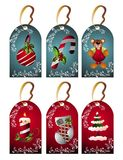 Christmas set of tags. Bear sock fir candle ball holly berries stock illustration