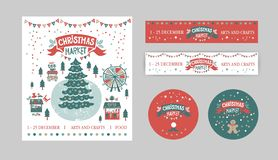 Christmas Set with tags, stickers, label, poster vector illustration