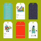 Christmas set of tags. Vector set of winter tag templates. Bright collection for Christmas and New Year holidays. For greeting cards, brochures, tags and labels Stock Photos