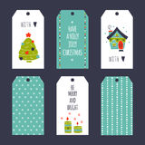 Christmas set of tags. Vector set of winter tag templates. Bright collection for Christmas and New Year holidays. For greeting cards, brochures, tags and labels Royalty Free Stock Image
