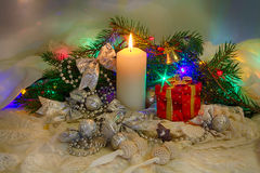 Christmas set, toys and a candle Royalty Free Stock Images