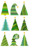 christmas set trees διανυσματική απεικόνιση για τη Χαρούμενα Χριστούγεννα ελεύθερη απεικόνιση δικαιώματος