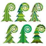 christmas set trees 圣诞快乐的被隔绝的传染媒介例证 免版税图库摄影