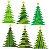 christmas set trees 圣诞快乐的被隔绝的传染媒介例证 图库摄影