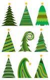 christmas set trees 圣诞快乐的被隔绝的传染媒介例证 免版税库存图片