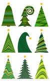 christmas set trees 圣诞快乐的被隔绝的传染媒介例证 库存图片