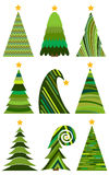 christmas set trees 圣诞快乐的被隔绝的传染媒介例证 免版税库存照片