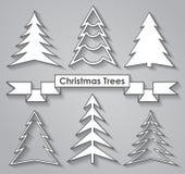 christmas set trees 平的设计 免版税库存图片