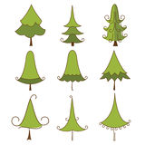 christmas set trees Arkivbild