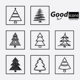 christmas set trees Στοκ Φωτογραφία