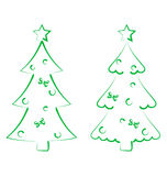 Christmas set trees with decoration, stylized hand Royalty Free Stock Images