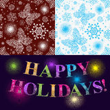 Christmas set of two seamless patterns and inscription. Christmas set of two seamless patterns with snowflakes and colorful inscription Happy Holidays! Vector Stock Illustration