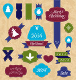 Christmas set variation labels and ribbons Royalty Free Stock Image