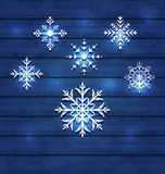 Christmas set variation snowflakes on wooden backg Stock Image