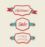 Christmas set variation vintage labels with text Royalty Free Stock Photo