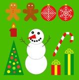 Christmas set. Vector. Christmas set. Snowman, gifts, ball, tree, cake Stock Image