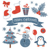 Christmas set. Vector collection of doodle Christmas design elements. Christmas set. Vector collection of doodle Christmas and New Year cute design elements Royalty Free Stock Photos