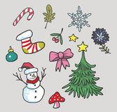 Christmas Set Vector Icon Illustration. Images Stock Photos
