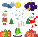 Christmas set of vector images Royalty Free Stock Images