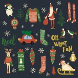Christmas set. Vector set of Christmas related objects and characters on dark blue background Stock Photography