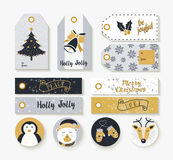 Christmas set of vintage animal labels and tags Stock Images