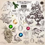 Christmas set of vintage decorative elements for design Stock Photos