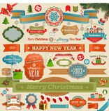 Christmas set - vintage ribbons. Labels and other decorative elements. Vector illustration Royalty Free Stock Image