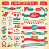 Christmas set - vintage ribbons,. Labels and other decorative elements. Vector illustration Stock Photos