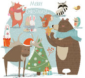 Christmas set with wild animals Royalty Free Stock Photo