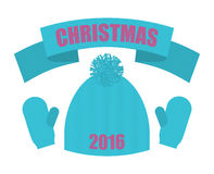 Christmas of 2016. Set of winter clothing. Knitted hat  Royalty Free Stock Photo