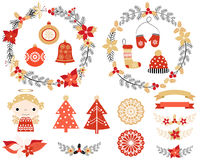 Christmas set with wreaths, angel Royalty Free Stock Photography