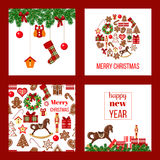 Christmas set. Xmas theme in boarded squares with gingerbread. Christmas set. Xmas theme in boarded squares with garland, gift boxes, rocking-horse, bauble shape Stock Images