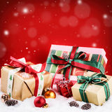 Christmas setting with colorful presents Stock Images