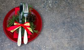 Christmas setting with festive decorations. On a dark background with a copy of the table space Stock Photos
