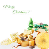 Christmas setting in golden tone Stock Photography