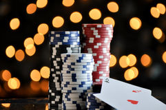Christmas setting with poker chips Royalty Free Stock Photography