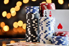 Christmas setting with poker chips Royalty Free Stock Images