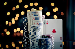 Christmas setting with poker chips Royalty Free Stock Image