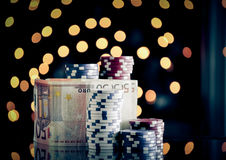 Christmas setting with poker chips Royalty Free Stock Photos