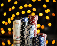 Christmas setting with poker chips Stock Photos