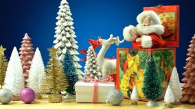 Christmas Setting With Trees And Old Vintage Music Box. Stock Photos