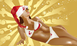 Christmas sexy girl Stock Photos