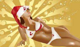 Christmas sexy girl Stock Photos