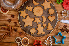 Christmas shape cookies presentation on table Royalty Free Stock Image