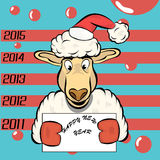 Christmas sheep. Christmas sheep in the cap with a sign stock illustration