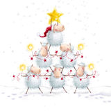Christmas sheep.Christmas Tree with Star made of cute sheep.New Year greeting cards.Christmas background. Cartoon funny sheep with Bengal lights and festoon Stock Photography